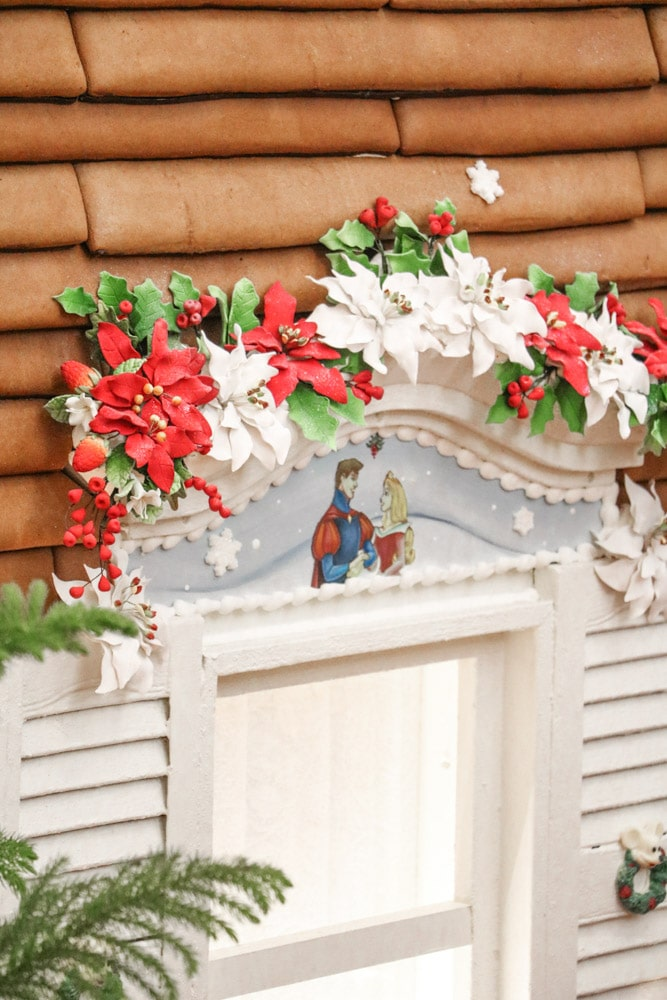 Victorian Christmas inspiration at Disney Grand Floridian with a gingerbread house with details.