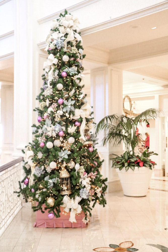 Victorian Christmas inspiration at Disney Grand Floridian with smaller trees on the upper floors.