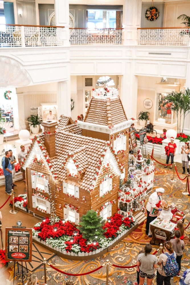 Victorian Christmas inspiration at Disney Grand Floridian with a life size gingerbread house.