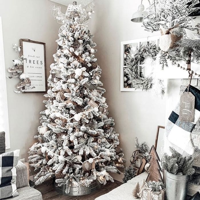 White Christmas Tree Ideas from The Barnwood Farmhouse with a rustic wooden and white decorated tree