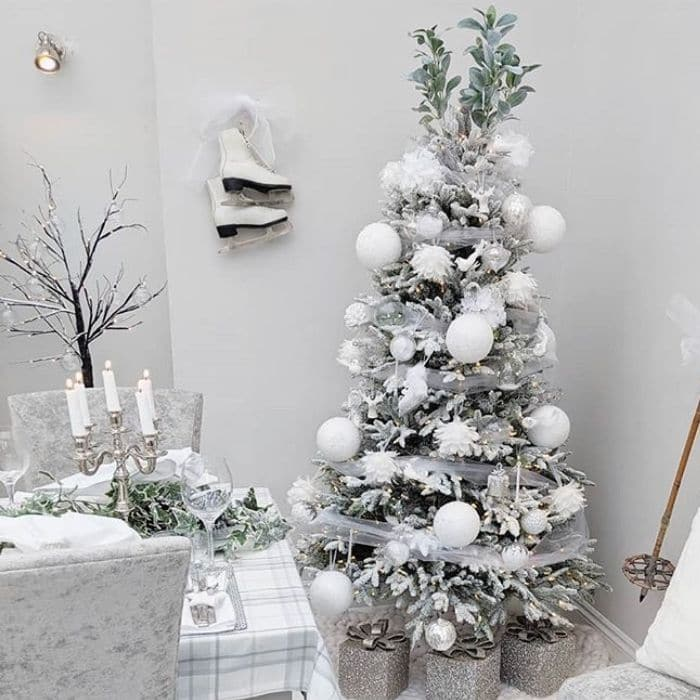 White Christmas Tree Ideas by Mrs Roobottom Home with a white Christmas tree for a dining area