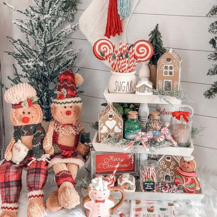 Decorating With Gingerbread Houses by Cherished Treasures with gingerbread people and homes on a tray