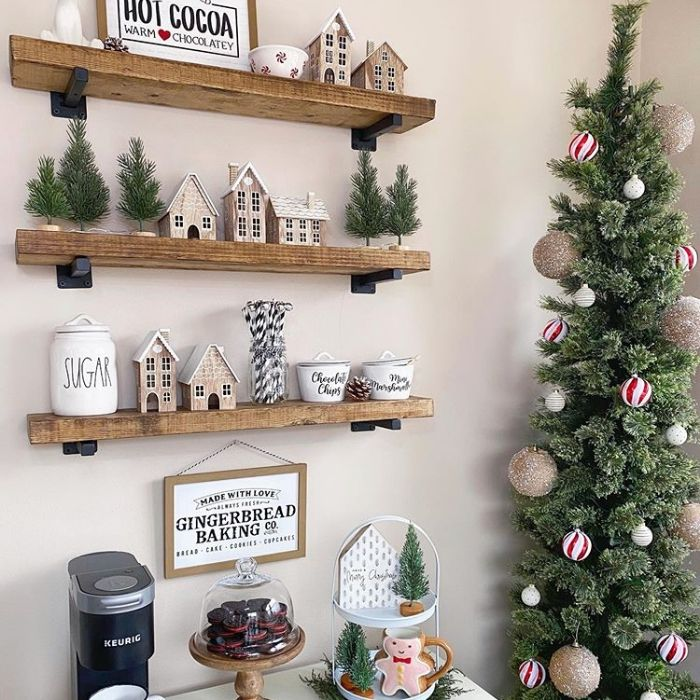 Decorating With Gingerbread Houses by EJN Decor with gingerbread houses amongst a coffee bar