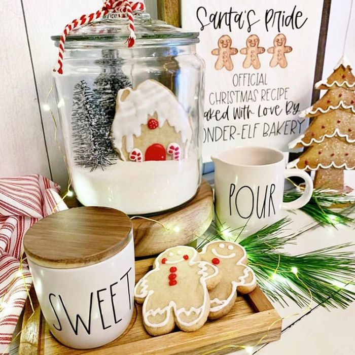 Decorating With Gingerbread Houses by Farm To Table Creations with a gingerbread house cookie in a glass jar
