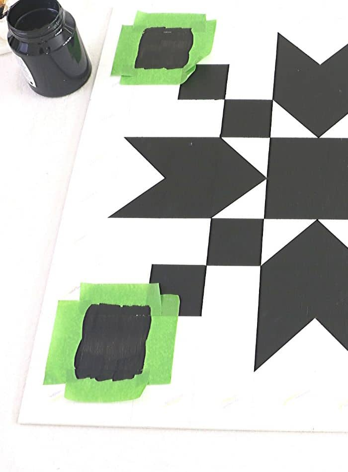DIY barn quilt tape and paint