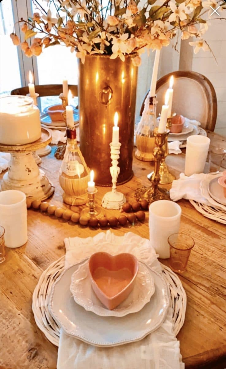 Decorate for Valentine with a warm tablescape by Signs of Hope