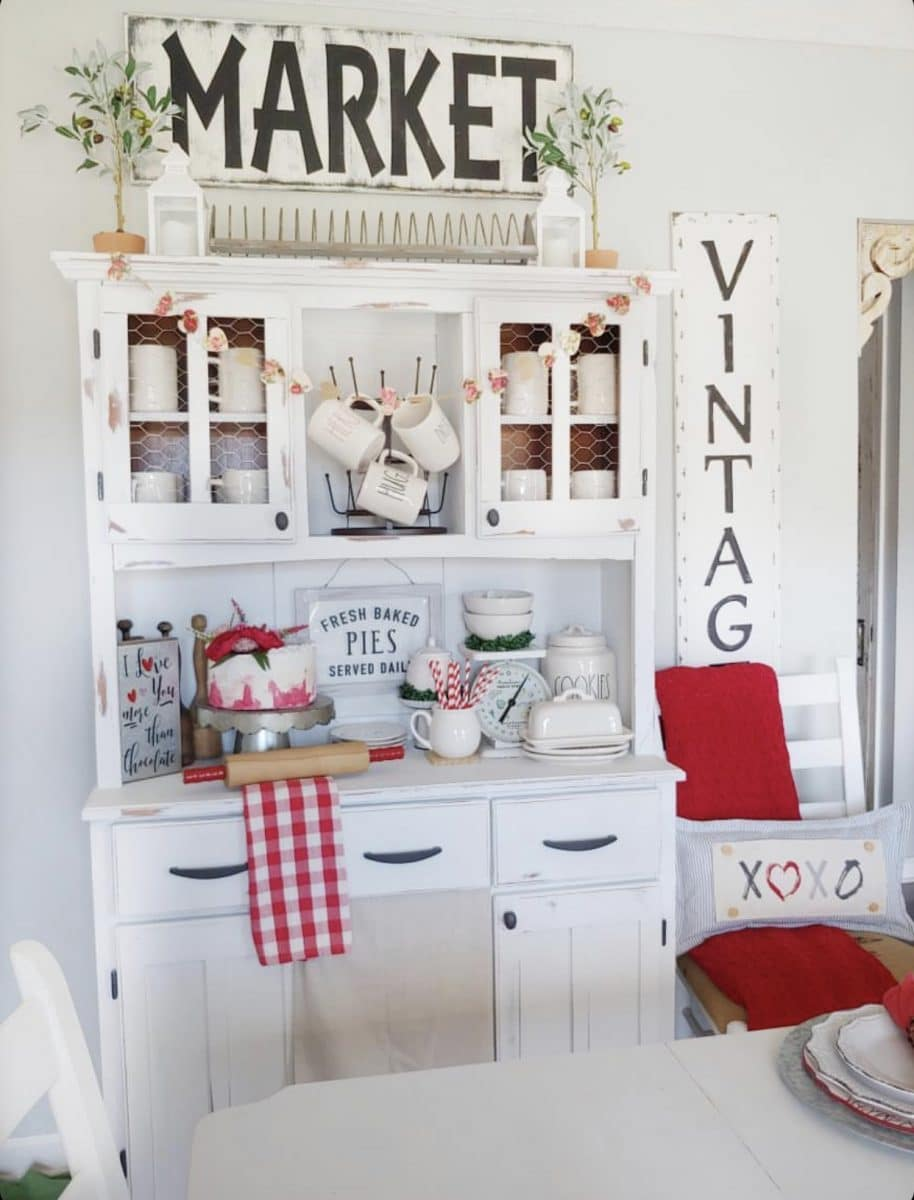 Valentine Decoration Ideas using a Hutch with Fallons Homestead