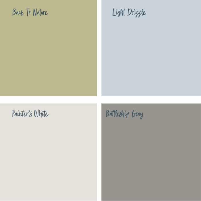 Farmhouse Paint Colors by Behr with Back To Nature, Light Drizzle, Painter's White and Battleship Gray