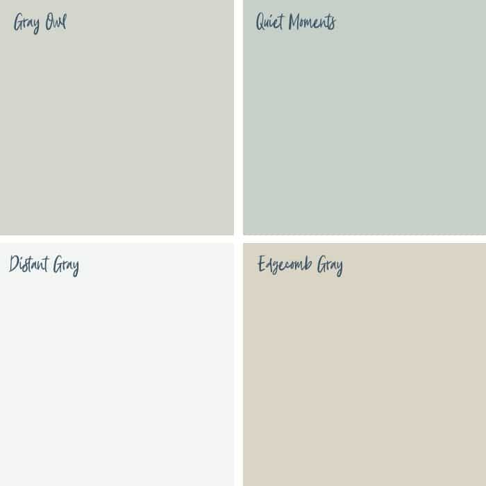 Benjamin Moore Farmhouse Paint Colors that include Gray Owl, Quiet Moments, Distant Gray and Edgecomb Gray