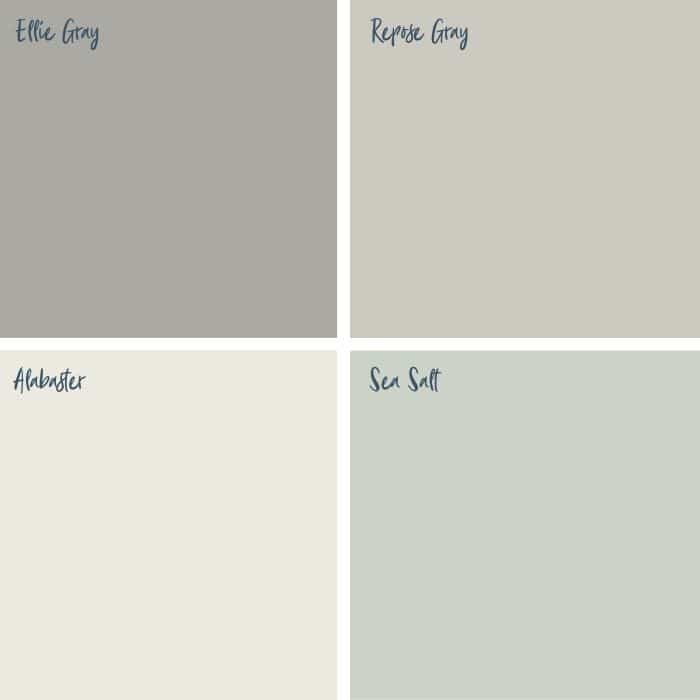 Farmhouse Paint Colors by Sherwin Williams including Ellie Gray, Repose Gray, Alabaster & Sea Salt