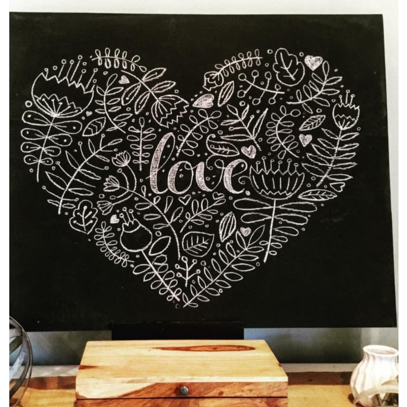 Chalkboard art with tulips, hearts and love message.