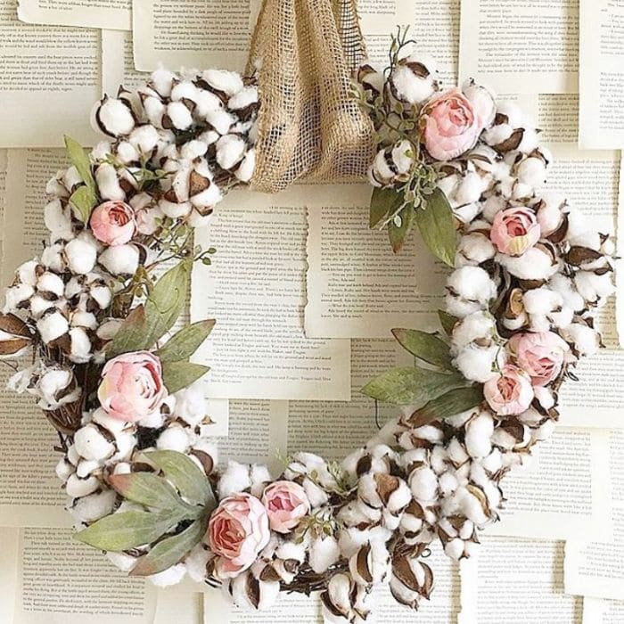 Decorating with Cotton by The Painted Piano with a natural cotton boll filled grapevine wreath