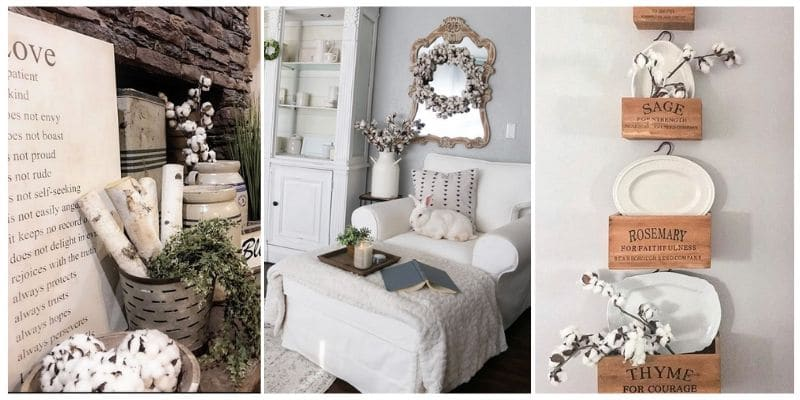 Decorating With Cotton with a triple picture of a decorated fireplace mantle, a living room and hanging herb wooden boxes