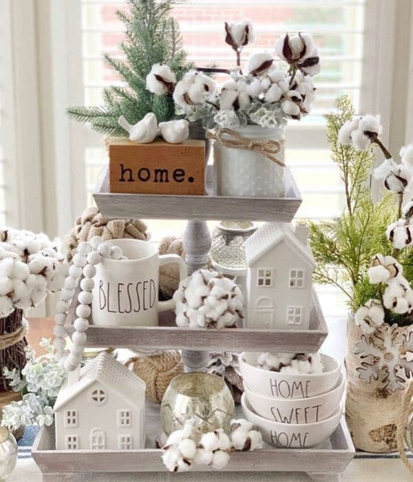 Decorating with Cotton by Stager Roz with a cotton filled tiered tray