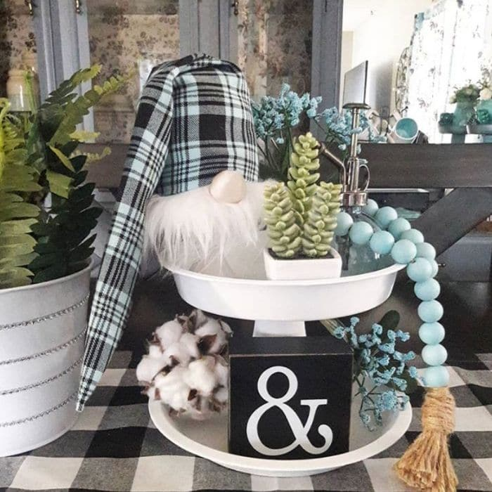 Decorating with Cotton by Luv Shades of Blue with a tiered tray with a cotton ball and gnome