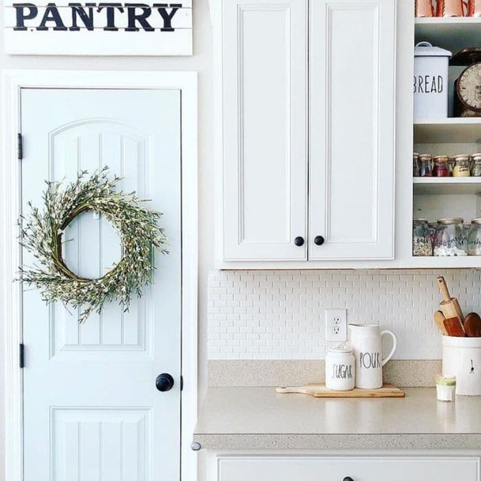 Sherwin Williams Sea Salt on a pantry door by Simple Loving Home