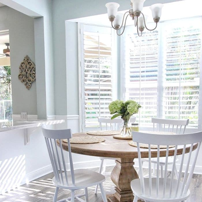 Sherwin Williams Sea Salt by South Florida Farmhouse with a breakfast nook