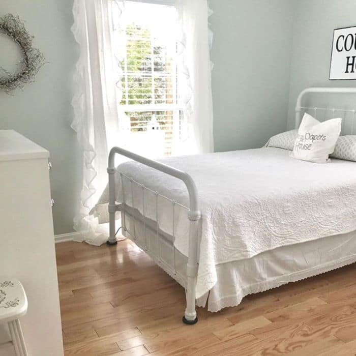 Sea Salt paint in a bedroom by Hidden Country Home