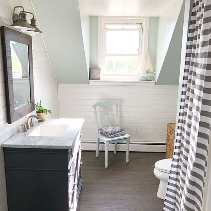 Sea Salt paint in a bathroom renovation by Crafty Teacher Lady
