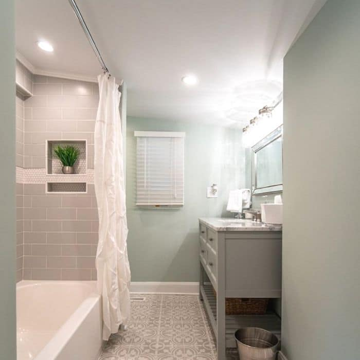 Sherwin Williams Sea Salt in a bathroom remodel by I Rehab Homes