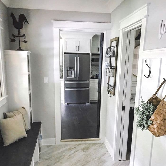 Sherwin Williams Repose Gray in a mudroom by Living With Ants
