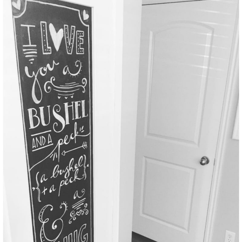 Valentine chalkboard messages with quote from song I love you a bushel and a peck