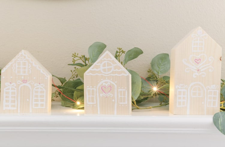 wooden valentine gingerbread house mantle decoration