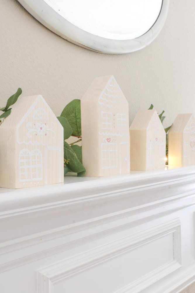 Decorate for Valentine with wooden gingerbread house on your mantle