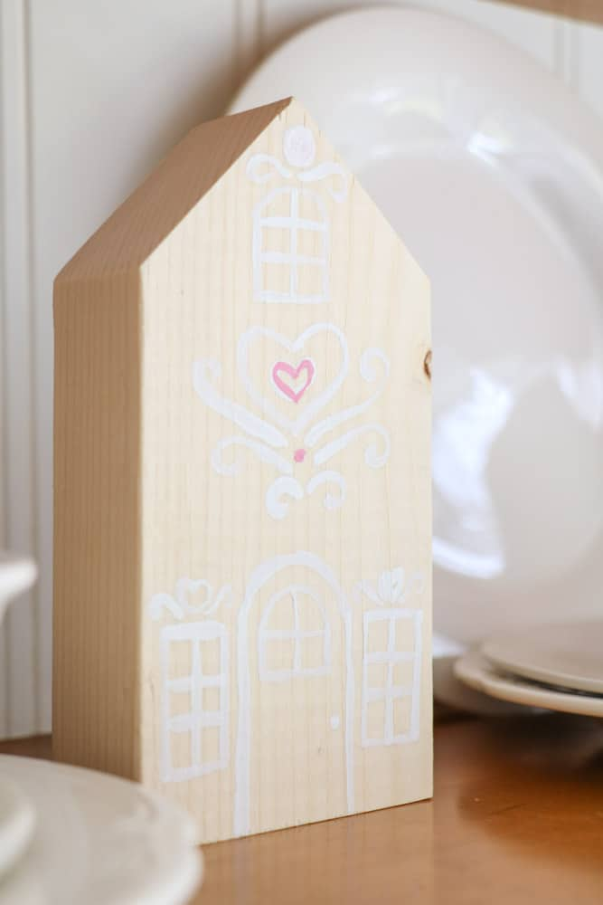 Decorate for Valentine with hand paninted wooden gingerbread houses