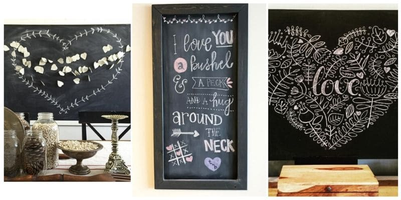 chalkboard messages with hearts, quotes and decorative art