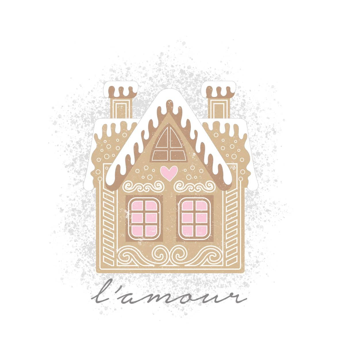 l'amour Valentine Gingerbread House printable