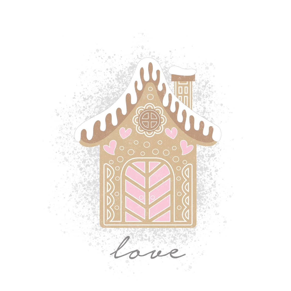 Love Valentine Gingerbread House printable