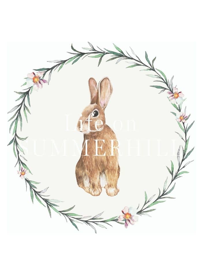 Brown bunny sitting inside a garland of leaves and pastel flowers.  A free printable for art, cards, decoration and more.
