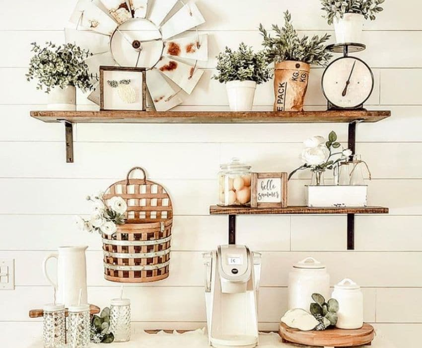 A coffee station with farmhouse decor by 31 Girl at Home