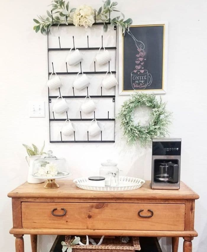 A coffee station with a mug rack and chalkboard by Simply Livin' Grateful