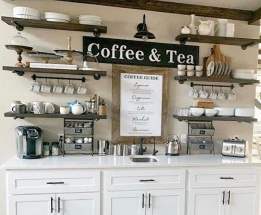 A coffee station with tea and toaster included by Our Hidden Farmhouse