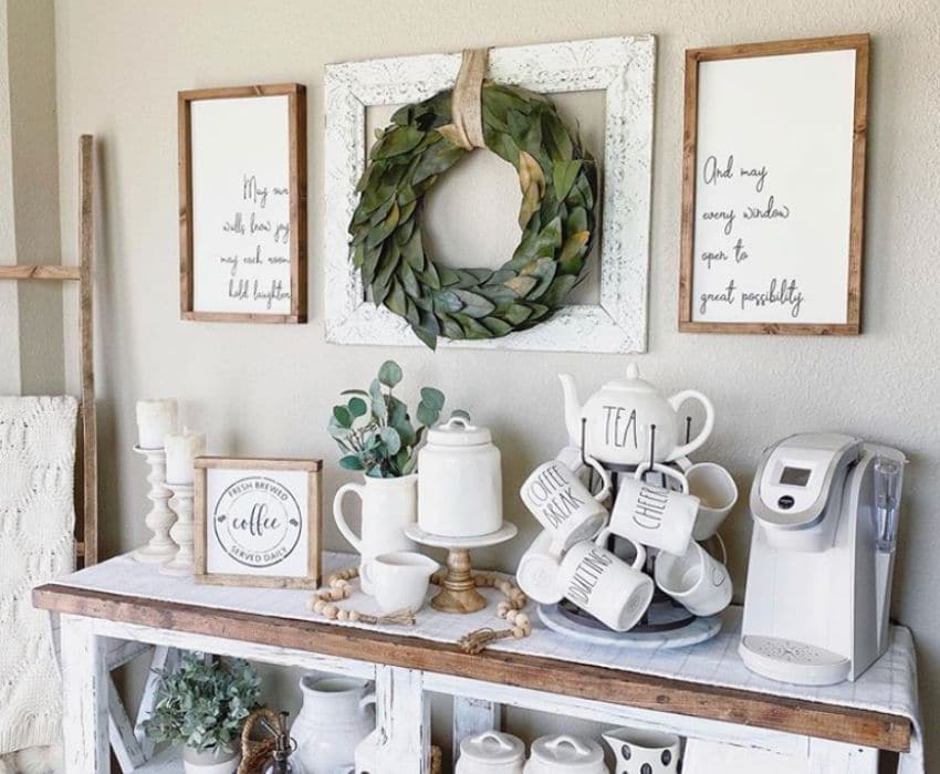A coffee bar with a mug tree and wooden signs by Golden Grace Handmade