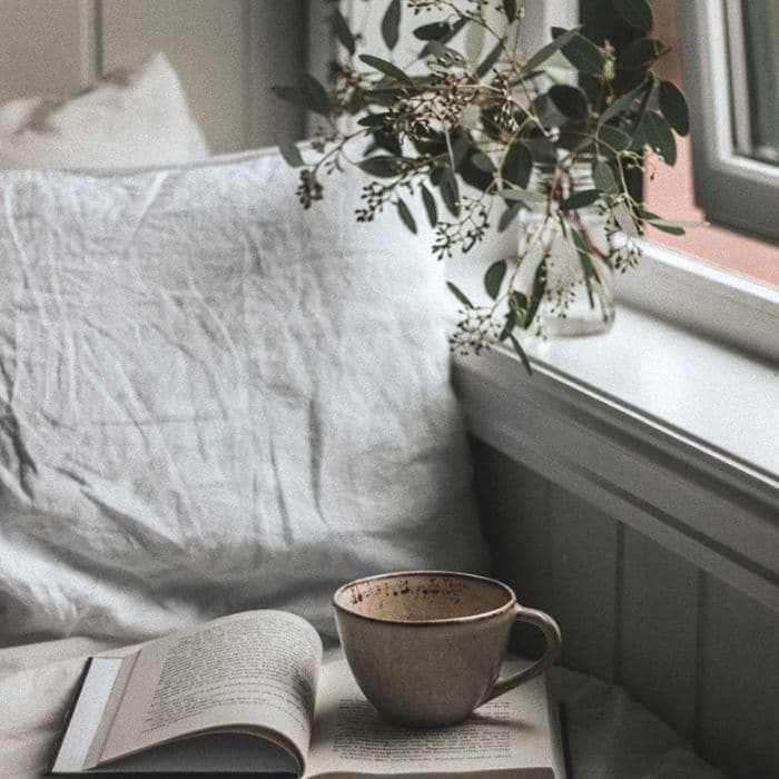 A book nook with coffee from Stefie Reads