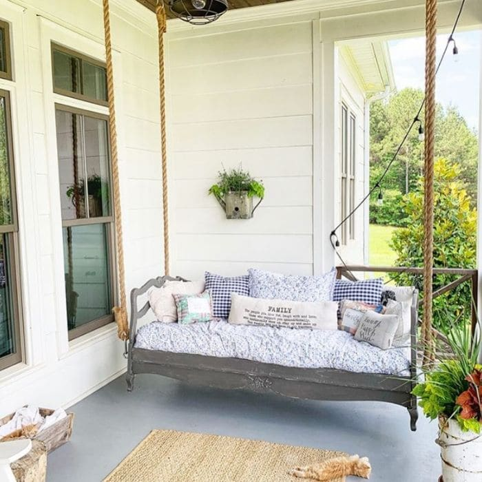 Gray Porch Bed Swing by McPeters Farmhouse
