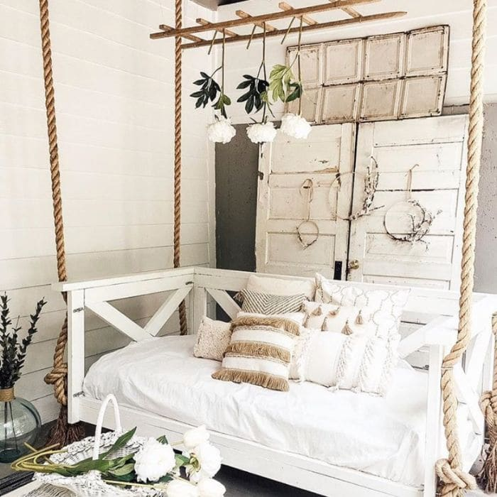 Neutral porch bed swing from Farmhouse Peach Co.