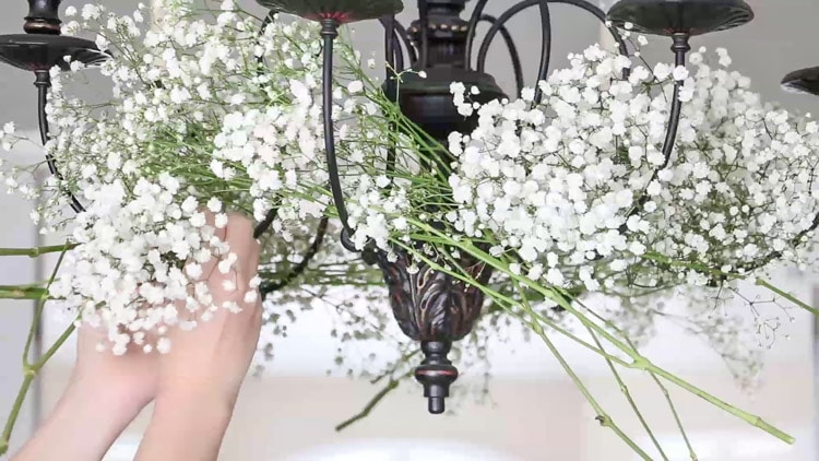 Decorate a chandelier with baby's breath.