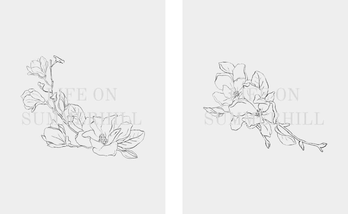 Floral free printable wall art of pencil drawn