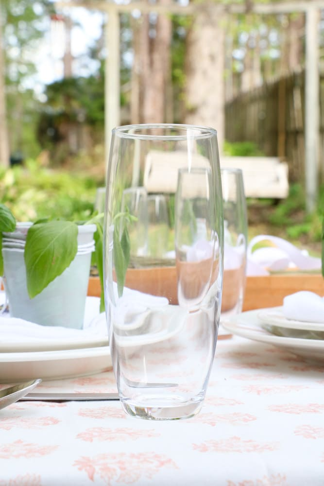 Stemless champagne glasses for a French country table setting