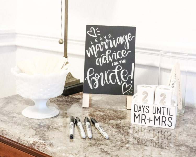 Leave marriage advice for the bride on a jumbo popsicle stick activity for a Southern bridal shower.