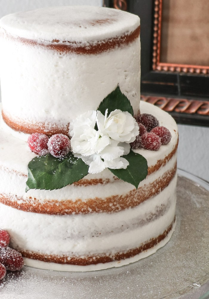 Flowers and sugar covered berries on a naked cake for a Southern bridal shower