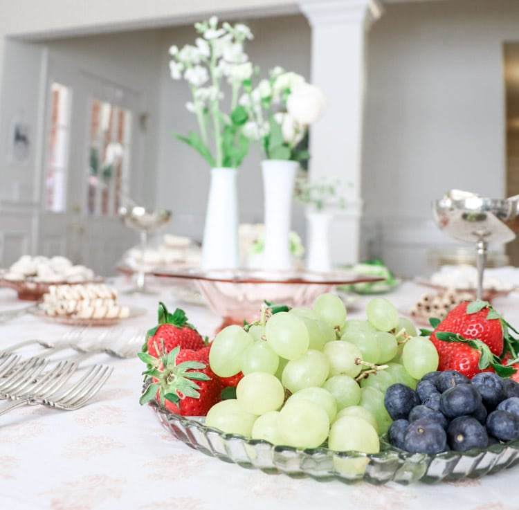 Southern bridal shower with fruit trays, milk glass centerpieces, silver and more.
