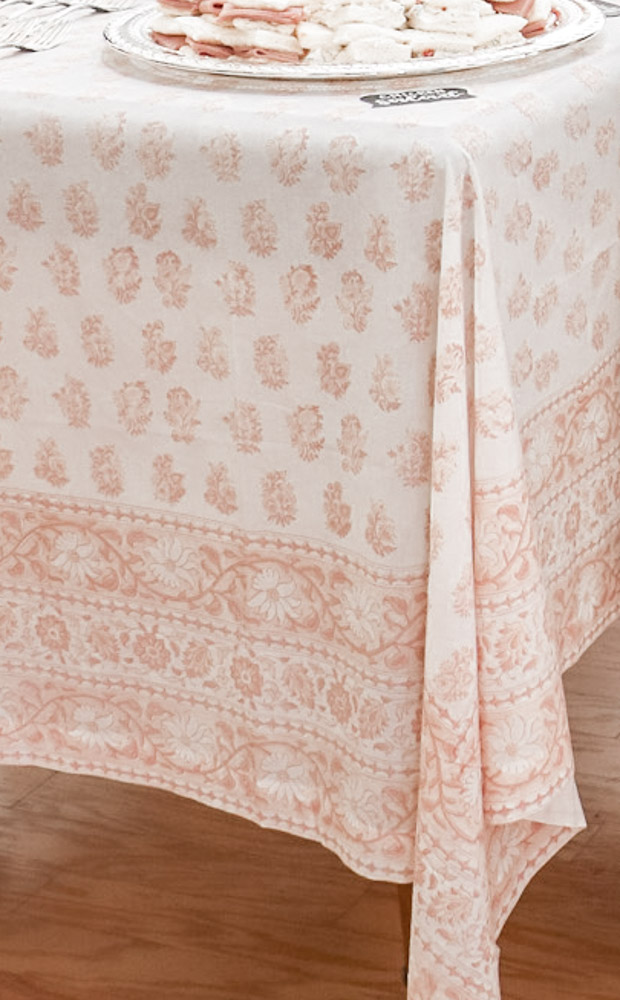 Block print tablecloth in muted pink tones for a Southern bridal shower