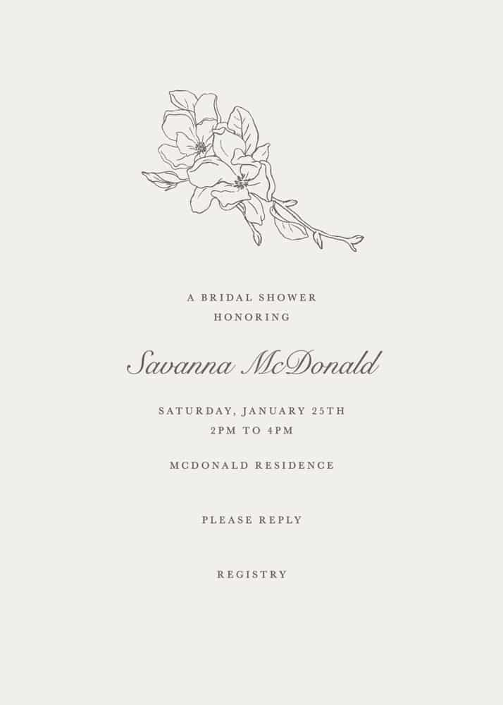 Printable invitations for a wedding with a dogwood flower
