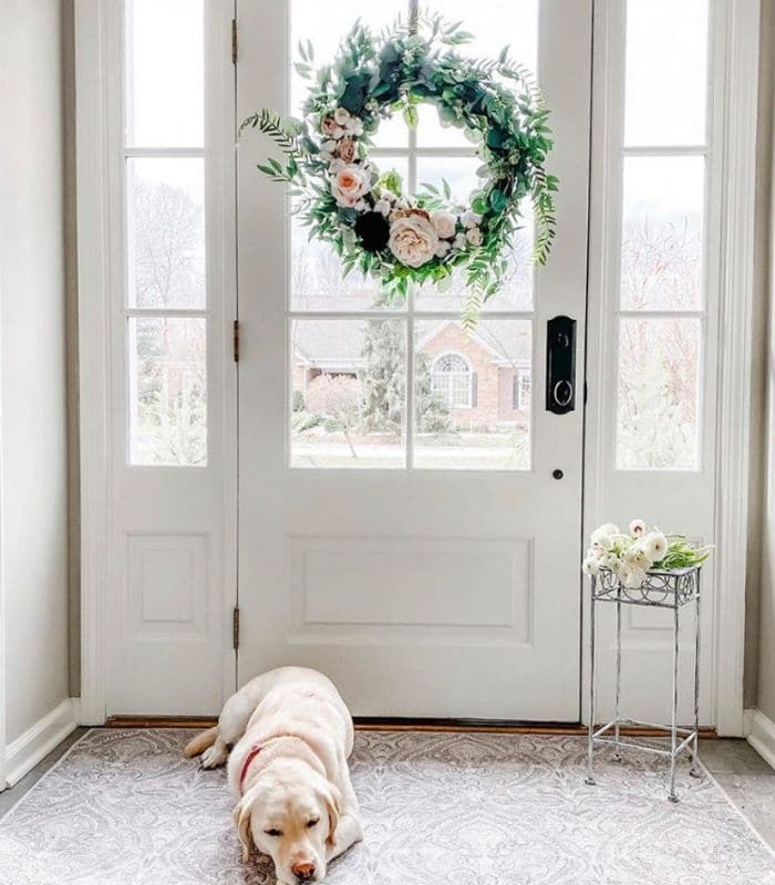 Rustic Floral Farmhouse Spring Wreath by Home on Fernhill & Whispering Welcome