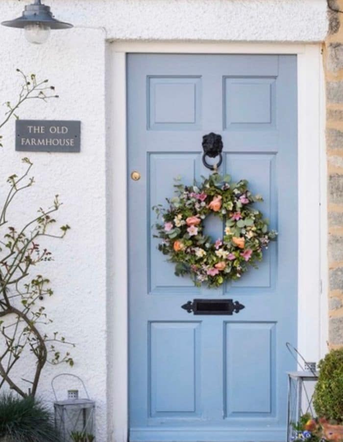Front Door Farmhouse Spring Flower Filled Wreath by Charlie Quartley